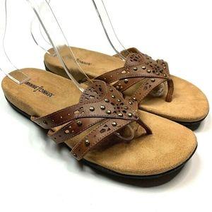 Minnetonka 9 Leather Sandals Laser Cut Flip Flop